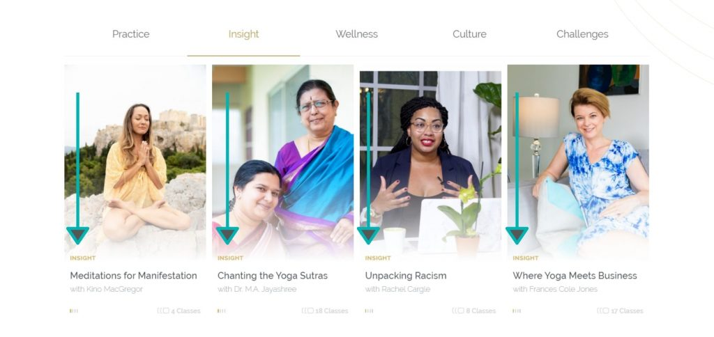 Women doing meditation and chanting on Omstars yoga website.