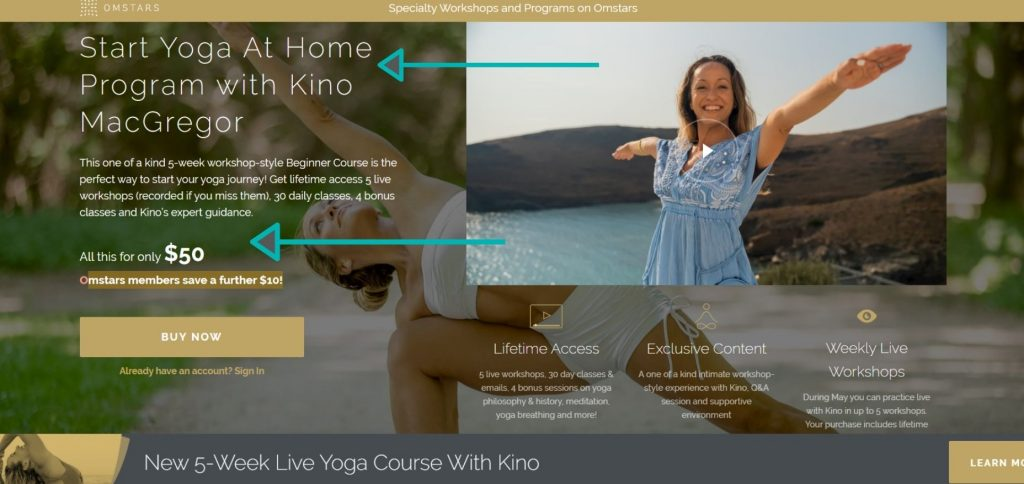 Beginner yogis can learn yoga basics on Omstars yoga by joining an at home yoga program with Kino MacGregor.