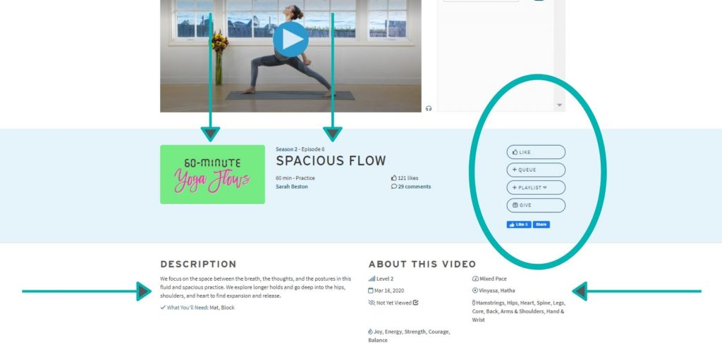 Woman demonstrating reverse warrior yoga pose while teaching an online yoga class on YogaAnytime.