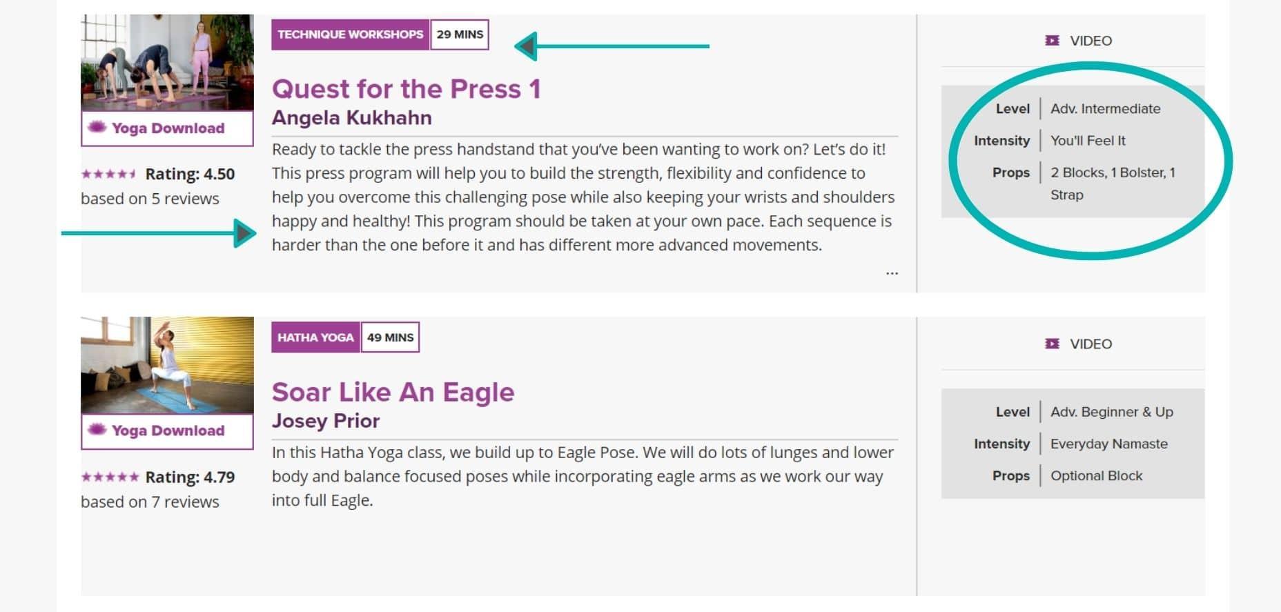 Woman teaching advanced online yoga classes on YogaDownload online yoga website.