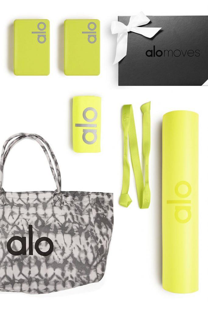 Alo Yoga Ultimate At Home Studio Set includes yoga mat, yoga strap, yoga block, yoga towel, tote bag and 1 year subscription to Alo Moves