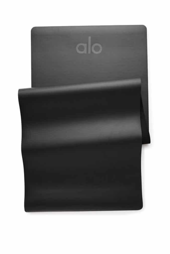 Alo Yoga's best selling Warrior yoga mat, a non slip yoga mat in black matte.