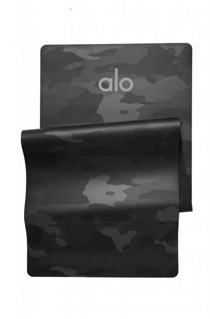 Alo Yoga's best selling Warrior yoga mat, a non slip yoga mat in black camouflage.