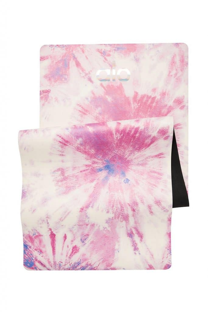 Alo Yoga's best selling Warrior yoga mat, a non slip yoga mat in pink tie dye.