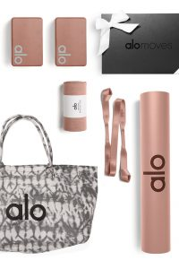 Alo Yoga gift bundle yoga set includes tote bag, yoga mat, yoga blocks, yoga strap, yoga towel, 1 year subscription to Alo Moves. Available in variety of colors.