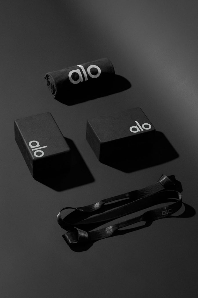 Alo Yoga Upgrade Gift Set includes yoga block, yoga strap, yoga towel in black. Many colors available.