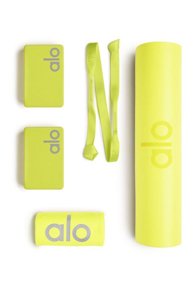 Alo Yoga Essentials Home Studio Set Set In Highlighter Neon Yellow