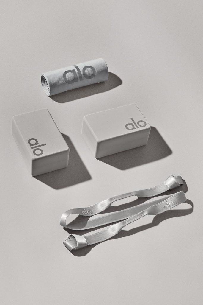 Alo Yoga Home Studio Set with yoga strap, yoga blocks, yoga towel in Dove grey.