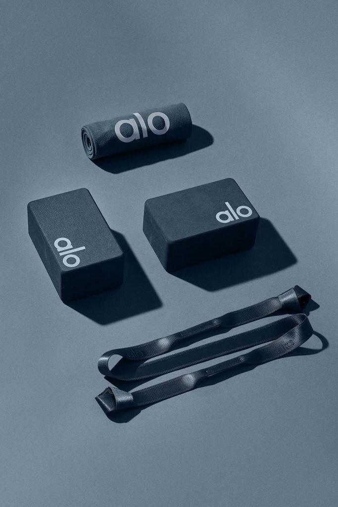 Alo Yoga Home Studio Set with yoga strap, yoga blocks, yoga towel in Eclipse slate grey.