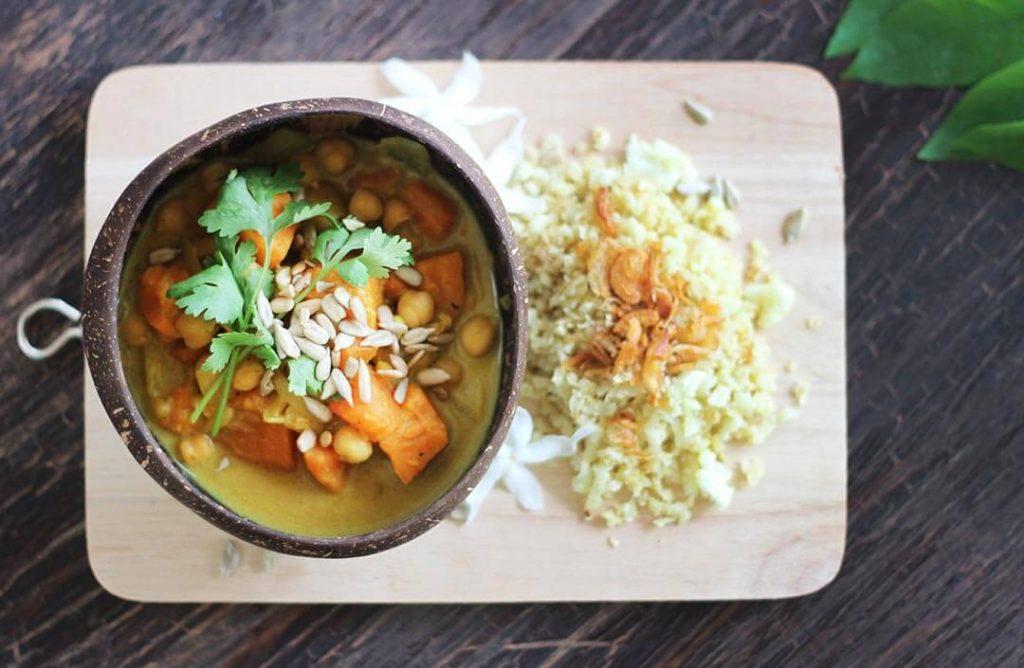 Vegetarian vegan sweet potato curry with cauliflower rice