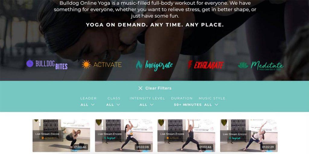 Women teaching yoga classes online on Bulldog Yoga.