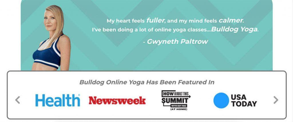 Gwyneth Paltrow talks about Bulldog Yoga.