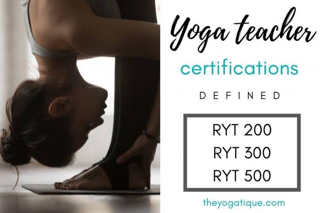 Woman doing forward bend yoga pose. Yoga teacher training certification levels.